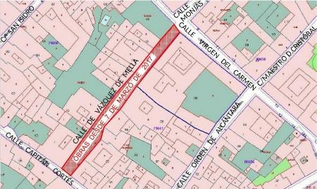 Plano de la zona afectada por obras