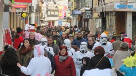 Aspecto de la calle Empedrada en la tarde del sábado de carnaval