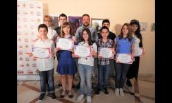 López de Pablo y Cebrián, junto al alumnado ganador del Concurso