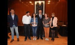 Recepción de los estudiantes franceses y el IES Sotomayor en el Salón de Plenos del Ayuntamiento de Manzanares