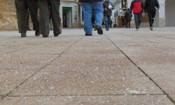 La plaza de la Constitución ha sido una de las zonas en las que operarios municipales han extendido sal