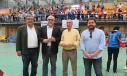 Julián Nieva y Pablo Camacho junto al delegado de la FBMCM y a Ramón Peco