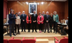 Julián Nieva y Prado Zúñiga junto a los delegados de la Junta en la provincia