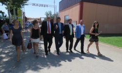 Julián Nieva, en la visita con Caballero minutos antes de la clausura