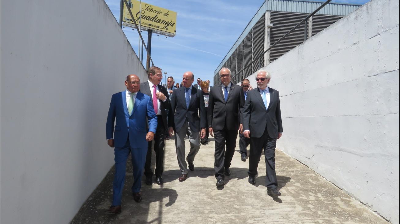 Recorrido del Ministro con el alcalde y miembros de Tertulia XV por Vinícola de Castilla