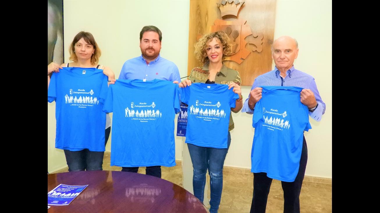 Laura Úbeda, Pablo Camacho, Beatriz Labián y Felipe Merino, en la presentación de la I Marcha Intergeneracional Manzanares 2017